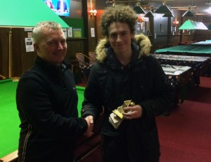 Tom collecting his trophy and £60
