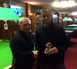Dale collecting his trophy and £130 from the Boss